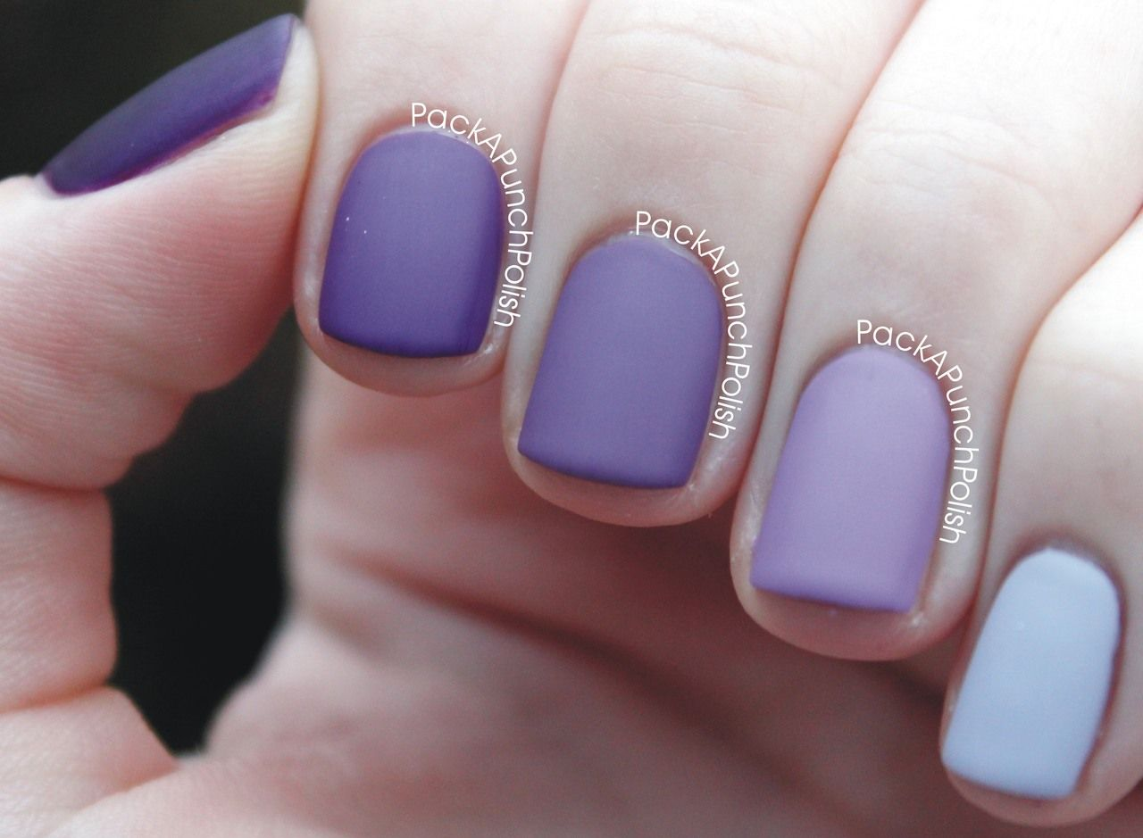 Matte Purple Ombre Nails By Pack A Punch Polish