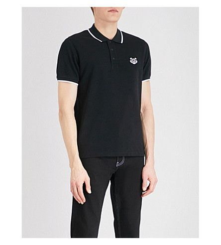 57ed9a2c KENZO Logo-embroidered slim-fit cotton-piqué polo shirt. #kenzo #cloth #