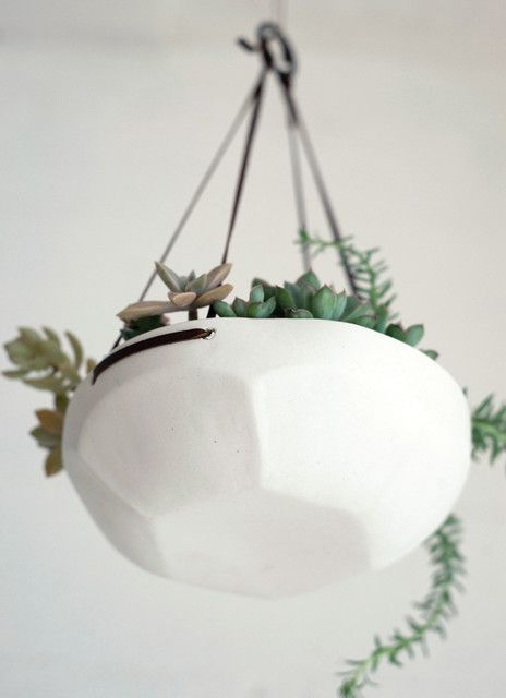 Faceted Hanging Tray Contemporary Indoor Pots And Planters