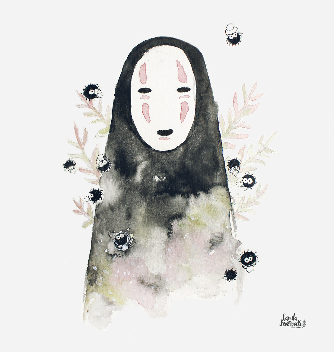 fanart no face watercolor ghibli chihiro by camila