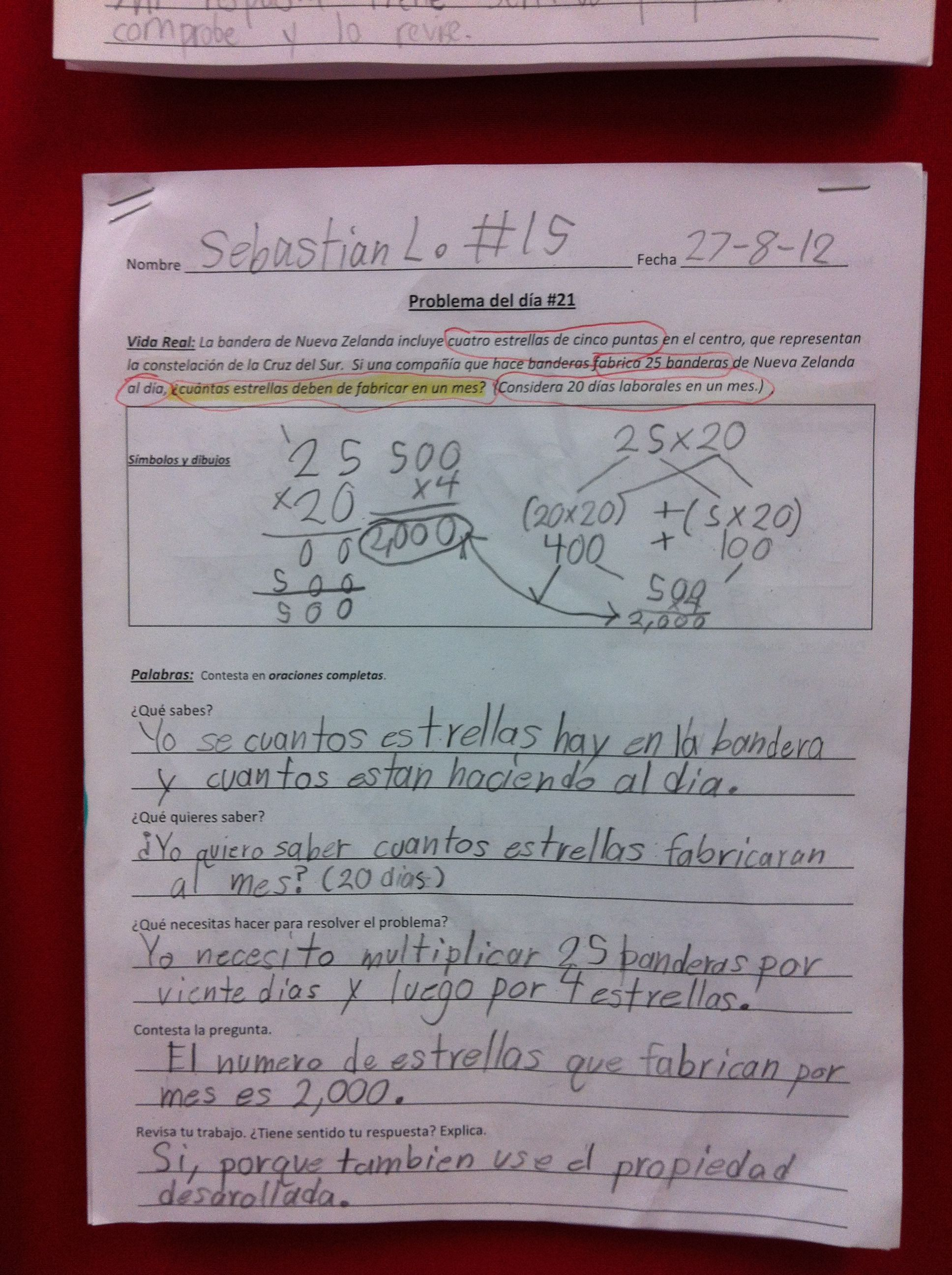 Word Problem Of The Day Student Sample 5th Grade