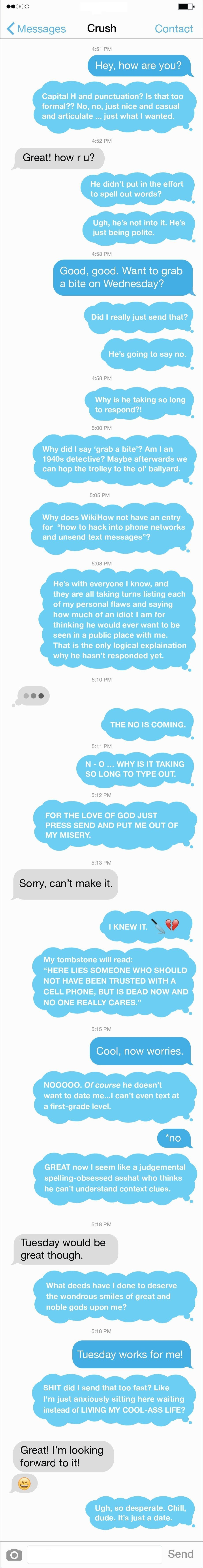 Texting your crush is such a horrible experience - LolSnaps