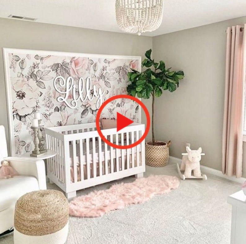 Snowy Rose Giant Pink And White Peony Removable Wallpaper Peel And Stick Wallpaper Self In 2020 Girl Nursery Room Baby Girl Nursery Room Baby Girl Wallpaper