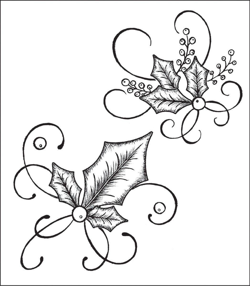 Heartfelt Creations 'Elegant Holly Swirls' Cling Rubber Stamp Set