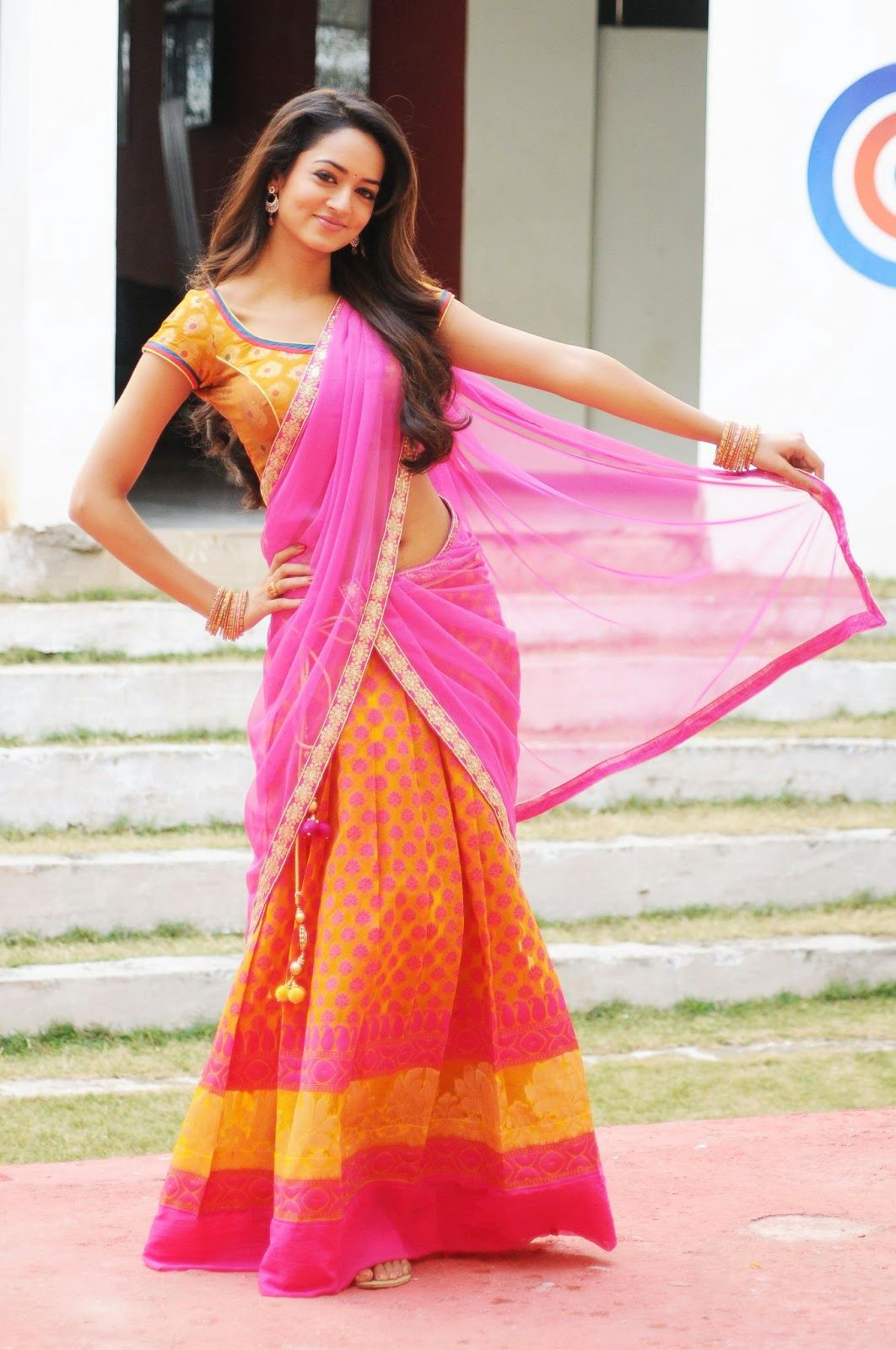 shanvi in traditional half saree | Things to Wear | Pinterest | Half ...