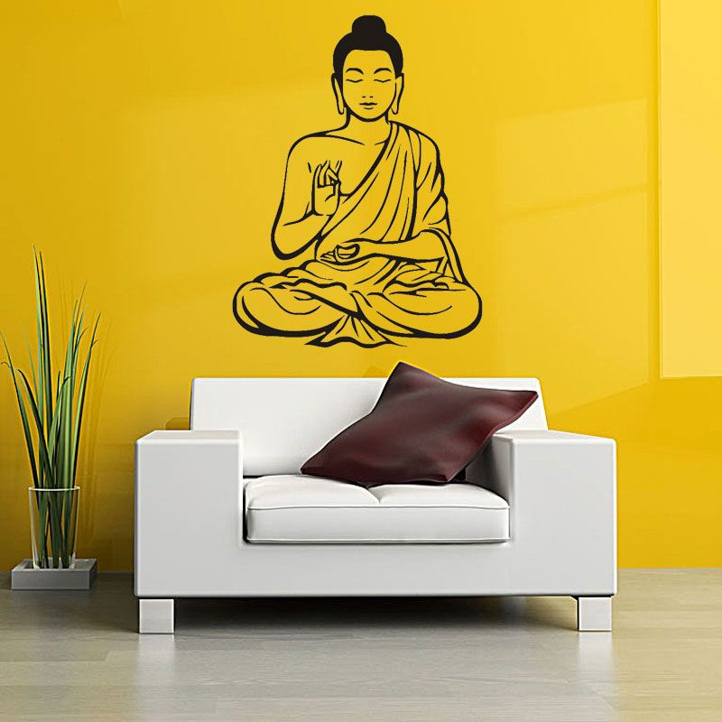 Wall Decor Indian Religion Buddha Statue Meditating Vinyl Wall ...