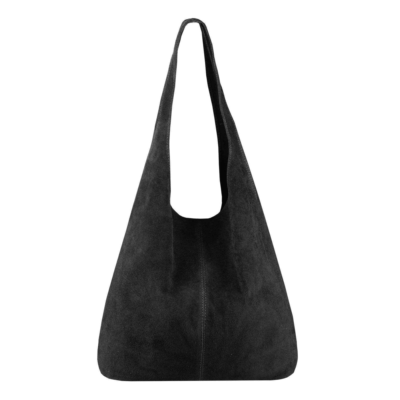 f7a7a10ed55696 MADE IN ITALY DAMEN LEDER TASCHE Handtasche Wildleder Shopper  Schultertasche Hobo-Bag Henkeltasche Beuteltasche Velourleder