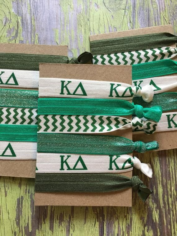 Kappa Delta Hair Ties-set of 6 Perfect for Bid Week or Big/Little Reveal--Go green frogs:) #biglittlereveal