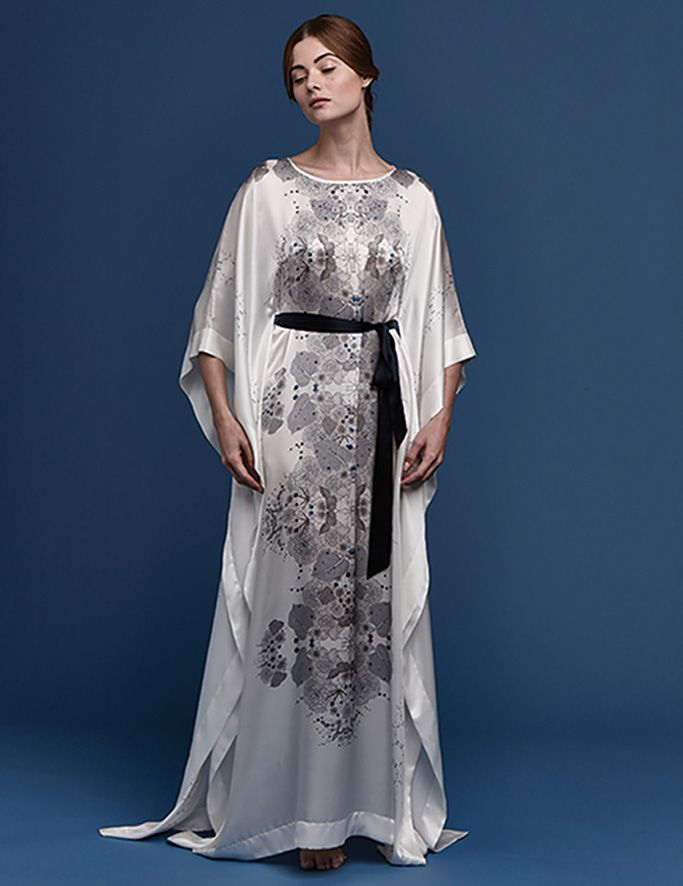 5fb263fcbe3b Meng SS15 luxury bridal loungewear - Cherry Blossom print silk satin kaftan  - white