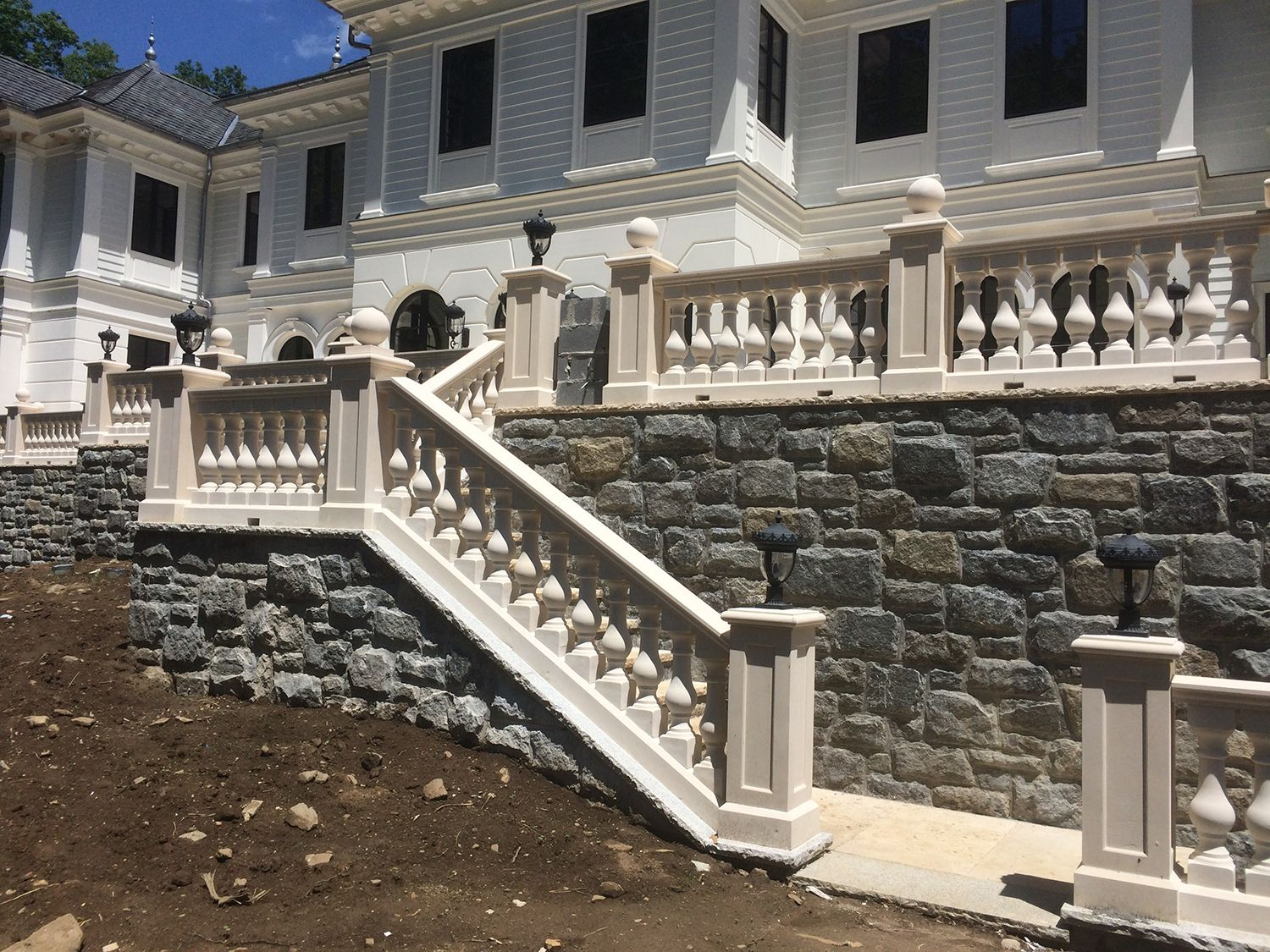 custom balustrade system for stair pathway concrete