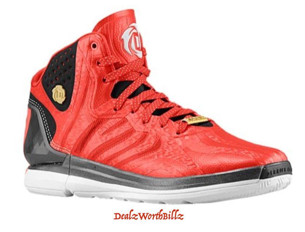 434fc1f0fc75 Adidas shoes DERRICK ROSE D ROSE 4.5 Rare basketball red black gold men size  9  adidas  BasketballShoes