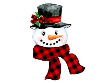 Plaid Snowman Digital Png Snowman Scarf Snowman Christmas Scarf