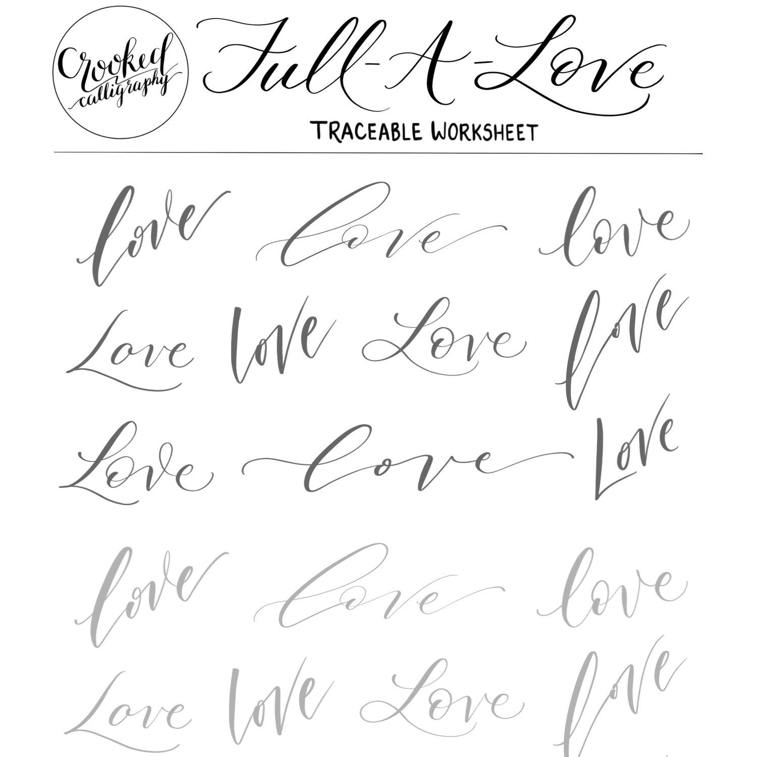 Love Traceable Worksheet