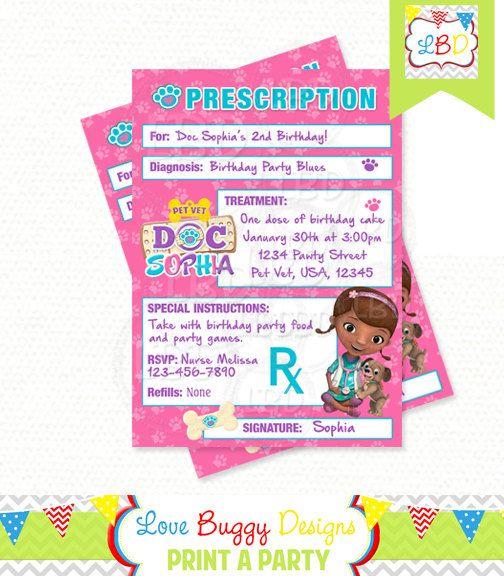 Doc Mcstuffins Pet Vet Invitations, Prescription Invitation, Doc Mcstuffins Birthday Invitations, Doc Mcstuffins Party Printables - Style 14
