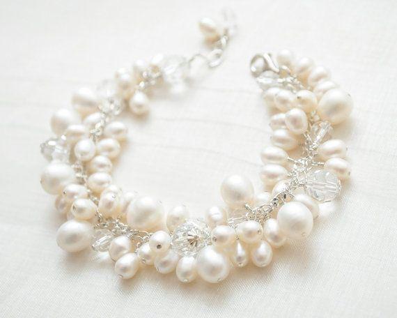 Freshwater Pearl Bridal Bracelet Cluster Bracelet Pearl