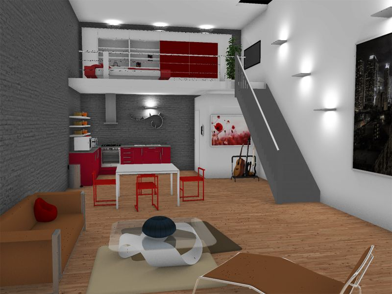 loft created and rendered in homebyme homebyme rendering pinterest lofts. Black Bedroom Furniture Sets. Home Design Ideas