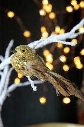 Clip On Pretty Gold Bird #RockettStGeorge #PrettyGold #GoldThings #FauxBirds #ChristmasDecoration #Sparkle #Shine