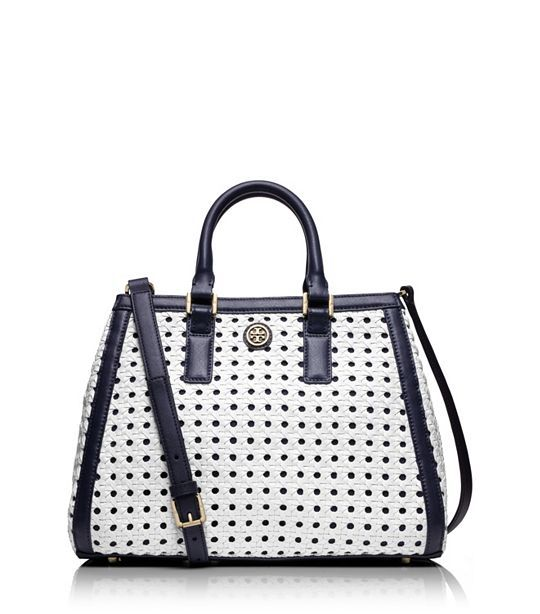 TORY BURCH ROBINSON BASKET-WEAVE TRIANGLE TOTE - WHITE/TORY NAVY