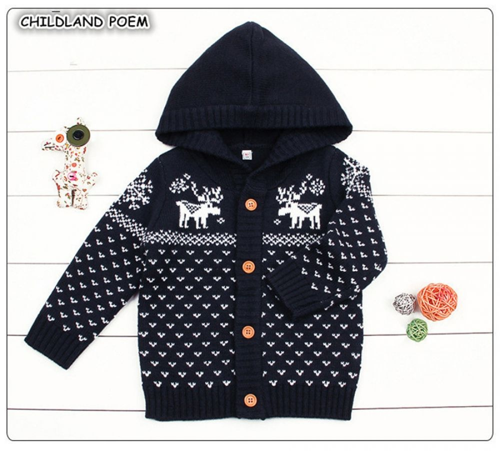 Photo of Knitted Boys Sweater Autumn Winter Christmas Deer Toddler Girls Cardigan Hooded Knitting Infant Baby Boys Coat Girls Outerwear