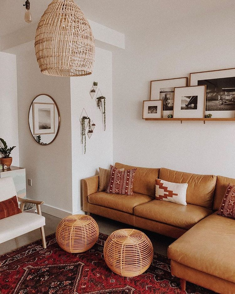 Leather Or Fabric Is A Major Question On Most Peoples Minds After Seeing Caitlinbea Owens Sectional In Palomino We Are 100 In 2020 Boho Living Room Decor Interior