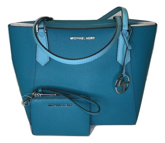 13cc3606351e Michael Kors Kimberly Sm Bonded Tote and Matching Coin Wallet Tile Blue  Leather Satchel. Save big on the Michael Kors Kimberly Sm Bonded Tote and  Matching ...