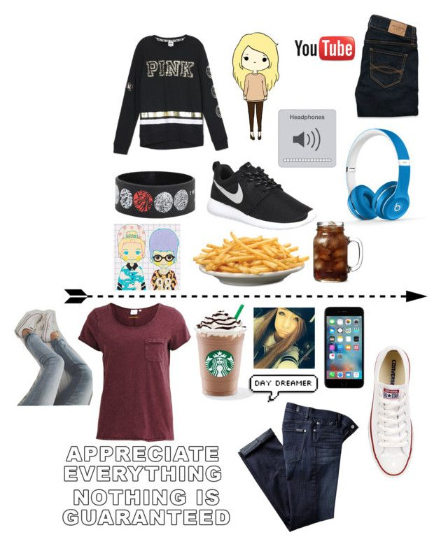 """""""Read d!!"""" by unashamedfashionista ❤ liked on Polyvore featuring NIKE, Beats by Dr. Dre, Abercrombie & Fitch, Converse, Object Collectors Item, 7 For All Mankind, Victoria's Secret and TypicalTeenGirl"""