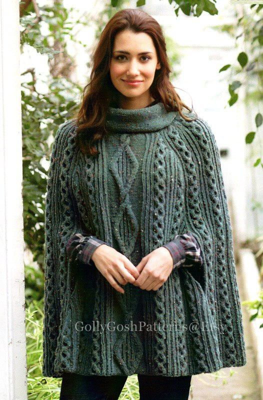 PDF Knitting Pattern - Ladies Cabled Poncho or Cape in Aran wool - Instant Download
