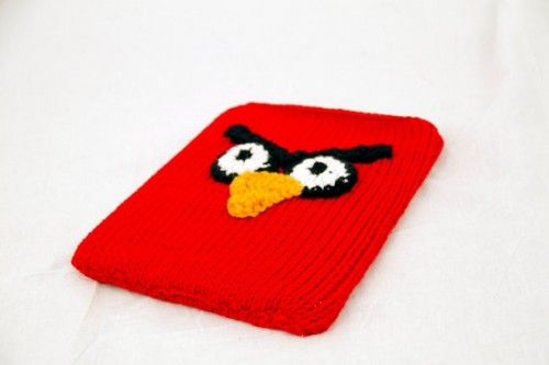 Red Mad Bird Ipad Sleeve Knit and Crochet Tablet Cover | CutieHats - Bags & Purses on ArtFire