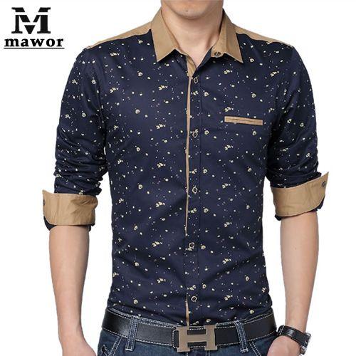 0a41348a3 Barato Plus Size 5XL dos homens camisas casuais impressão camisa de mangas  compridas Slim Fit camisas sociais roupas masculinas MC150