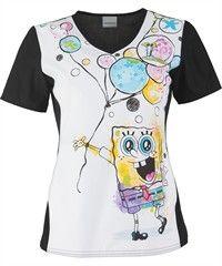 Style # CK6834SB: Cherokee Tooniforms SpongeBob's Balloons Scrub Top