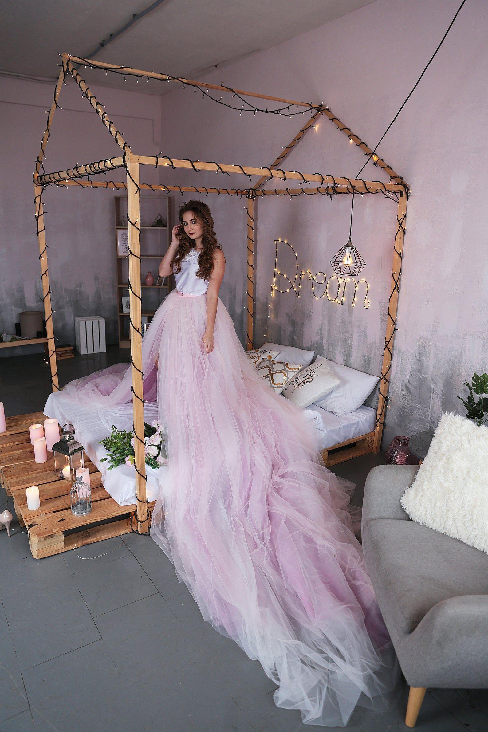 Detachable Tulle Bridal Skirt / Overskirt With Long Train
