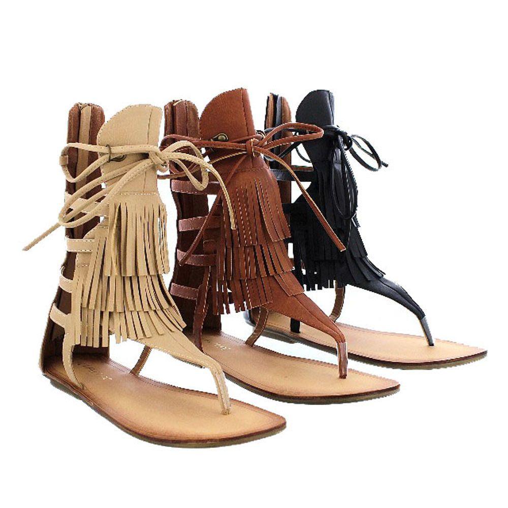 c869d09e0 Beston AVIS-4 Womens Flat Lace Up 3-Layers Fringe Flip Flog Gladiator Sandal   LILIANA  Gladiator