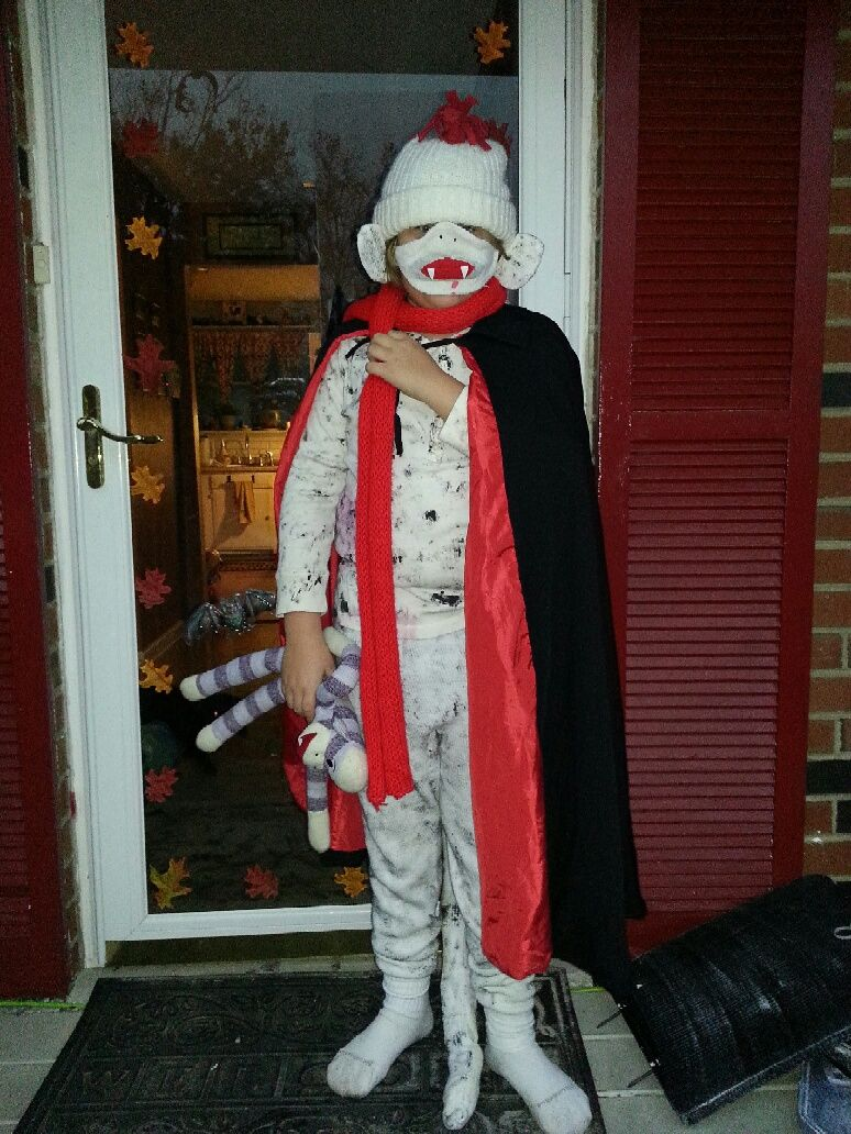dylan was a vampire sock monkey for halloween.