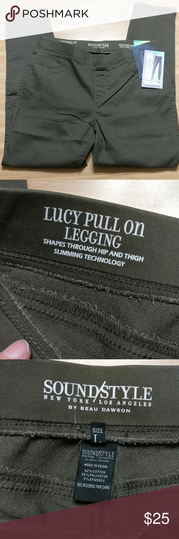 c47d65e892821 Legging Size L. Deep Olive Green. Back pockets. SoundStyle Pants Leggings