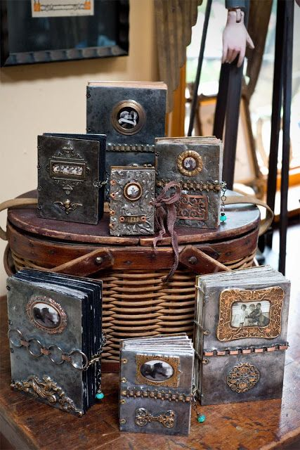 These are made for a craft shop. I like the metal covers and adornments, especially the plaque providing a title to the book cover.