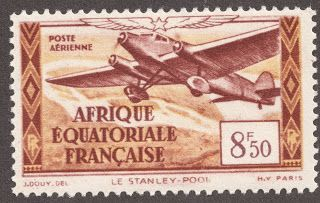 """French Equatorial Africa  1937 Air Post 8.50fr red brown & yellow """"Trimotor over Stanley Pool"""""""