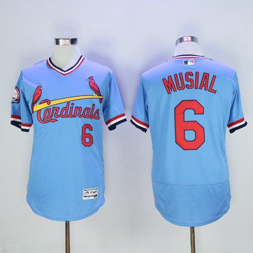 ca91ff15d08 Cardinals  6 Stan Musial Light Blue Flexbase Authentic Collection  Cooperstown Stitched MLB Jersey