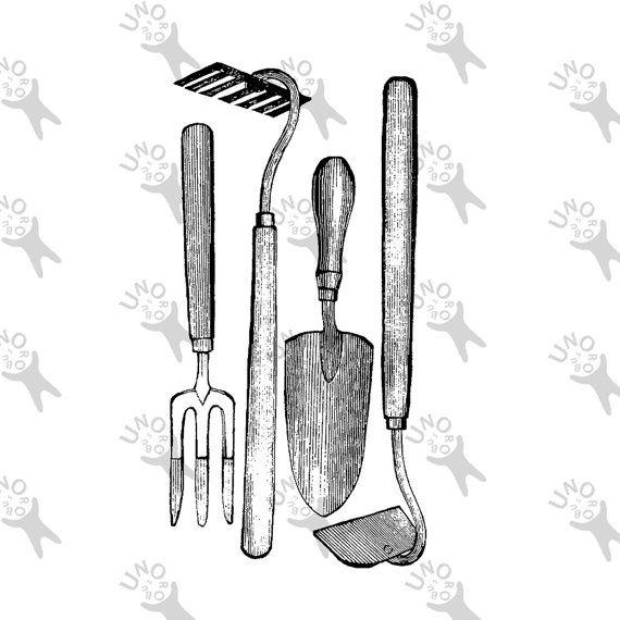 Printable vintage Image Gardening Tools Instant Download