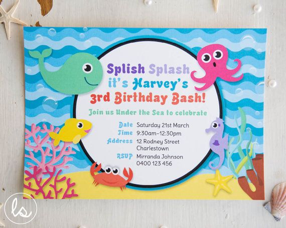Under The Sea Birthday Invitation DIY PRINTABLE Professional Printing