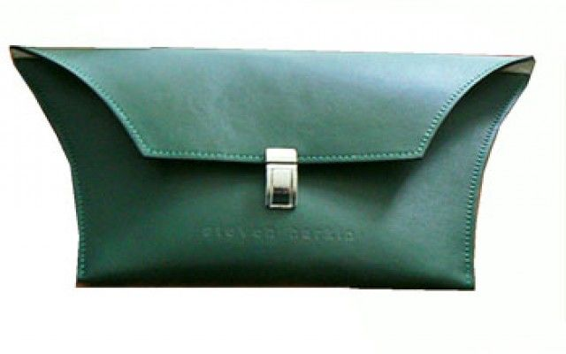 Forest Green leather clutch Kylie