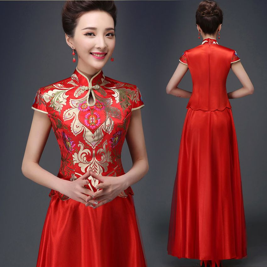 ShangDianXinNiang 15168 Symmetrical Design Red Brocade Traditional Chinese Wedding Costumes Long