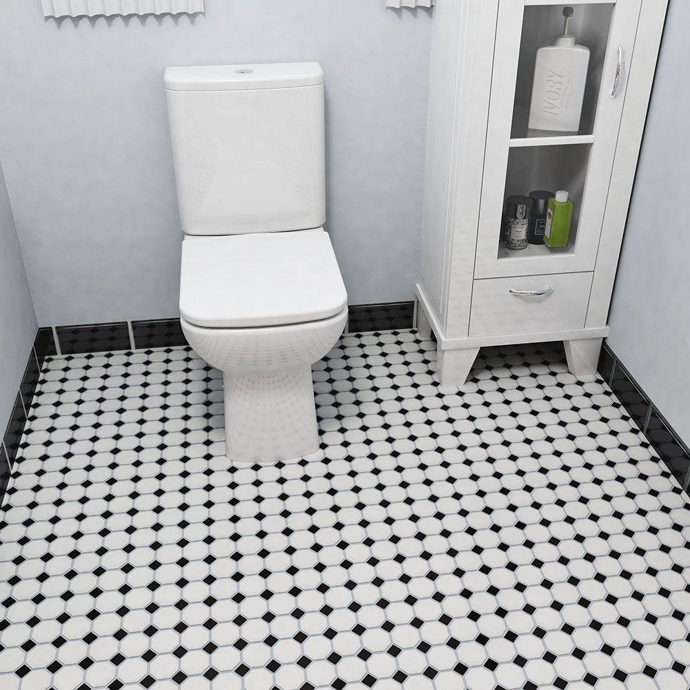 Merola Tile Metro Octagon Matte White and Black 11-1/2 in. x 11-1/2 ...