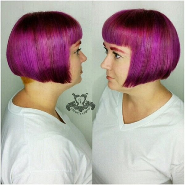 All Sizes Classic Angled Bob Haircut Electric Raspberry Variegated Tones Bobs Haircuts Angled Bob Haircuts Angled Bob
