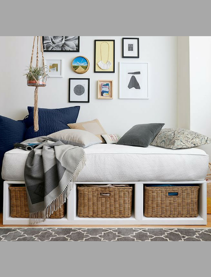 I love this platform daybed with storage from Pottery Barn