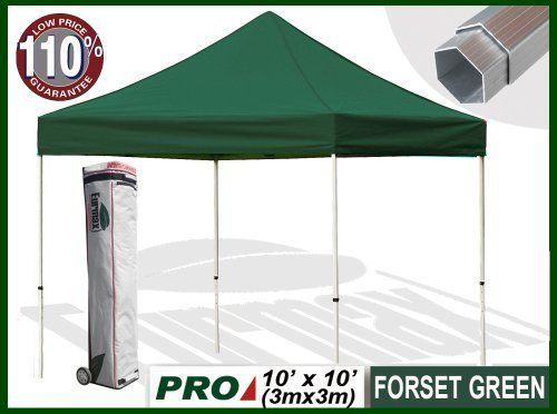 "Eurmax Profession Ez Pop up Canopy with Wheeled Bag (10x10feet, Forest Green) by eurmax. $429.95. Super wheeled bag with 4.7""  wheels,The best in the market, easy to handle even on rough ground. 600D polyester top,99% UV Pretection and UPF50+ rated, CPAI-84 fire retardant certification. frame package:13'' x 13.5'' x 64.2'' weight 60.6 LBS  / Canopy top pakcage:15.7'' x 17.7'' x 3.1'' weight 9.9LBS. This10' x 10' instant shelter canopy with adjustable legs sets up in seconds. It i..."