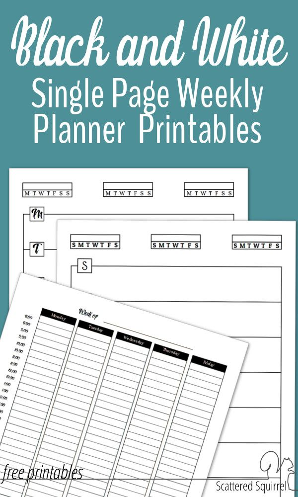 Free Black and White Weekly Planner Printables Week planner