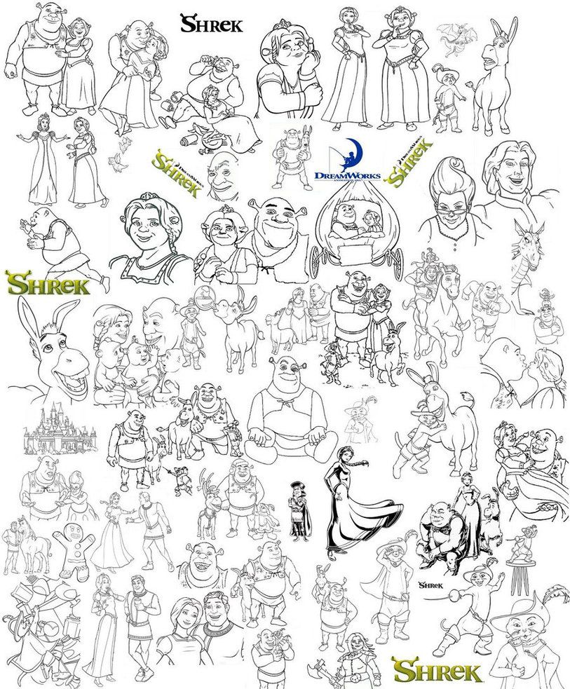 shrek coloring pages shreks coloring page collage by catgal15 on deviantart - Shrek Coloring Pages