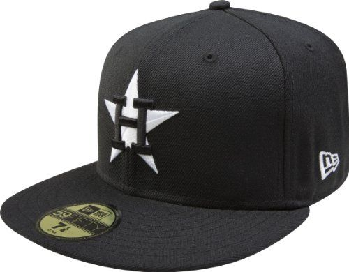 best sneakers 68076 3d063 MLB Houston Astros Cooperstown Black with White 59FIFTY Fitted Cap, 7 1 2