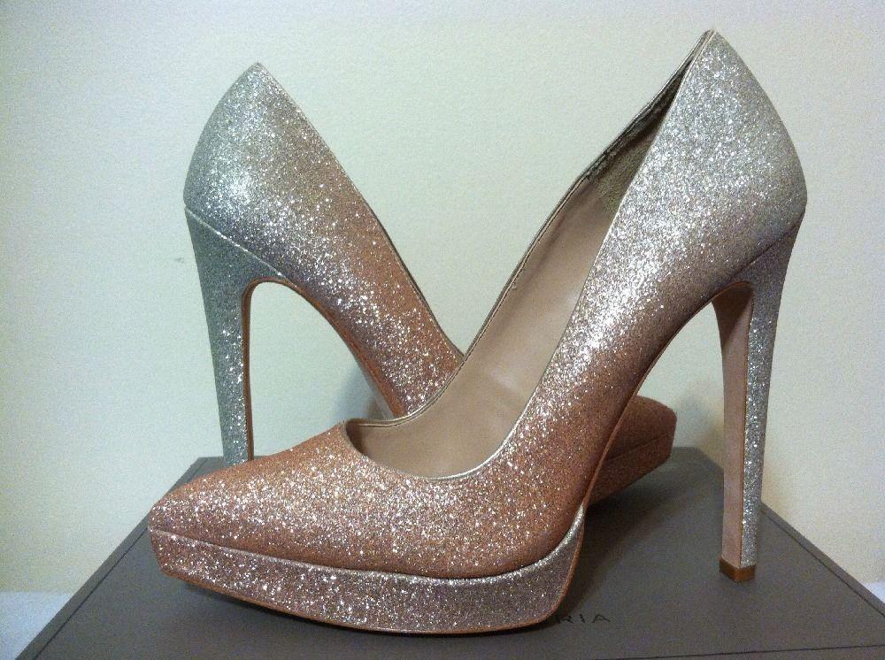 27be6bb874d3 BCBG Max Azria Gami Champagne Glitter Degrade Platform Women s Heels Pumps  7.5 M  BCBGMaxAzria