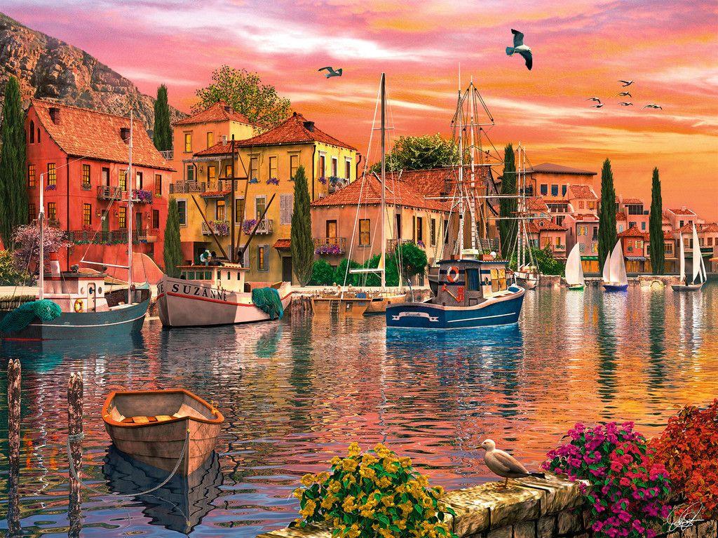 Port Mediterraneen Adultes Puzzles Produits Frbe Ravensburger Com Sonnenuntergang Kunst Olgemalde Ideen Landschaft